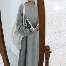 Slim bamboo 2018 spring Korean ins simple classic pleated pocket sweater long-sleeved dress student base