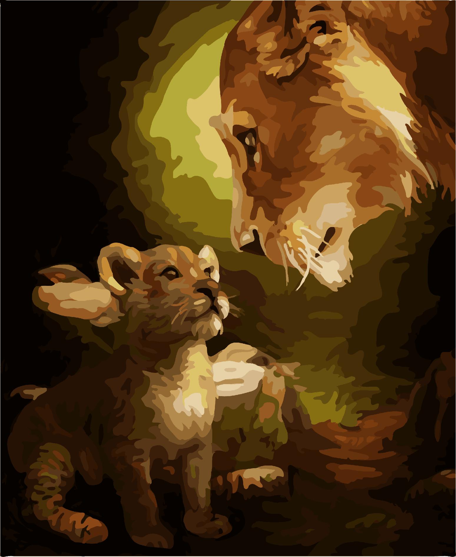 星空雨夜diy数字油画 狮子动物风景客厅卧室大幅填色装饰画 凝视