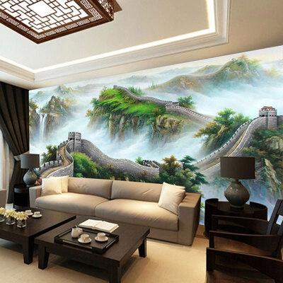 大型壁画客厅沙发电视背景墙山水画壁纸 书房3d中式墙纸国画长城