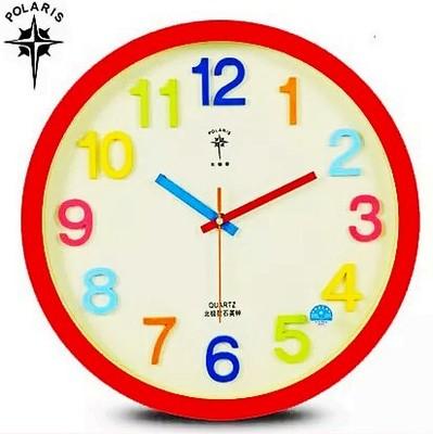北极星卡通挂钟14寸可爱时钟表儿童房幼儿园七彩立体卧室超静音表