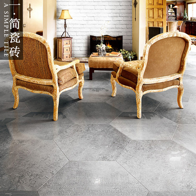 六邊形仿水泥磚拼花瓷磚 仿古磚設計師專用磚六角磚花磚600*600
