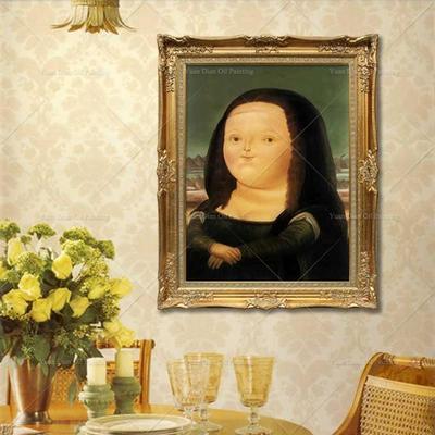 手绘胖版蒙娜丽莎油画 当代复古人物装饰画竖版玄关挂画 特价包邮图片