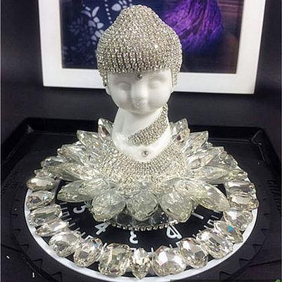 汽车摆件内饰品水晶香水座可爱弥勒佛像开光保平安高档创意除异味