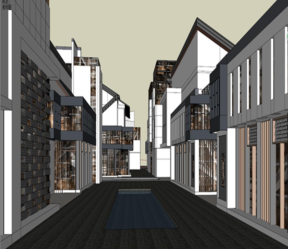 su模型新中式风格商业街新中式沿街商业楼建筑设计草图大师商业街图片