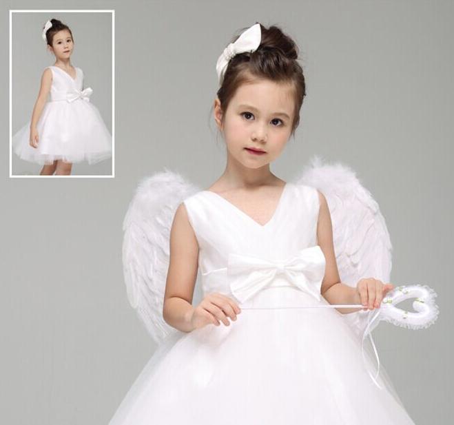 儿童幼儿演出服小天使表演服装花童天使带翅膀蓬蓬裙女伴娘白纱裙