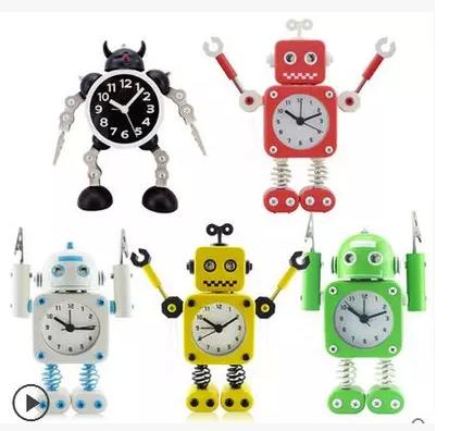 金属机器人闹钟 糖果色学生卡通闹钟 儿童静音闹钟 创意可爱闹钟
