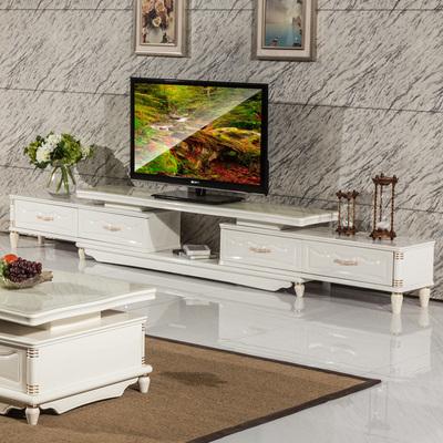 简欧现代简约烤漆伸缩电视柜茶几组合 宜家大小客厅时尚影视柜图片
