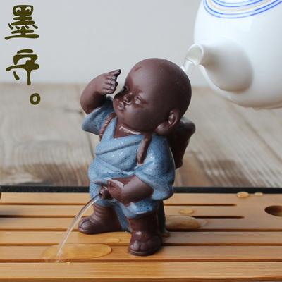 【墨守】喷水尿童紫砂小和尚茶宠摆件可爱佛茶玩禅意撒尿娃娃