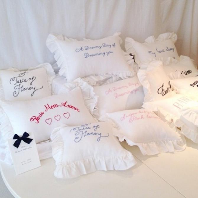 纯白枕套字母花边枕套复古荷叶边少女小清新枕头套