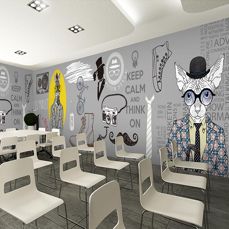 时尚个性立体3d卡通动物肖像墙纸服装店ktv主题大型壁画商场壁纸