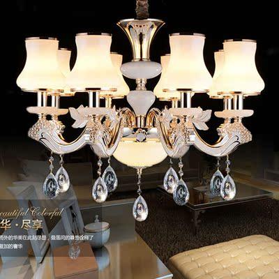 欧式奢华锌合金水晶玉石吊灯客厅灯现代简约大气餐厅