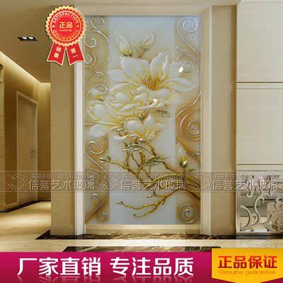 艺术玻璃玄关背景墙 深雕刻钢化工艺 屏风隔断 现代简约 大富大贵