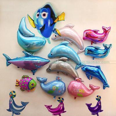 大号海豚鲨鱼鲸鱼造型铝膜气球海洋动物生日派对庆典装饰布置气球