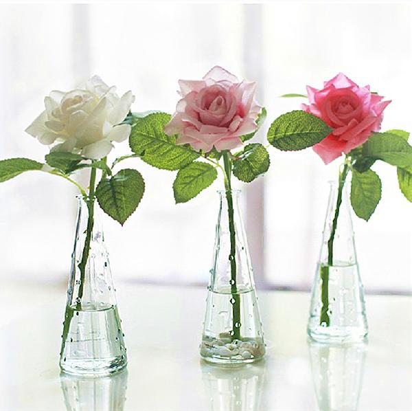 玻璃瓶玫瑰花套装北欧风格 简约透明浮点玻璃花瓶 居家装饰摆设花
