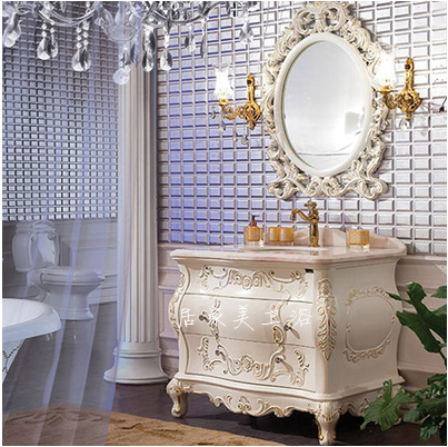 欧式浴室柜 仿古实木雕花大理石落地双盆卫浴组合卫生间洗漱台盆