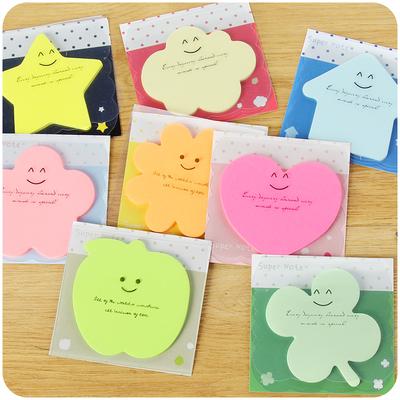 韩国文具可爱表情便利贴爱心花朵记事留言条n次贴纸记事贴便签贴