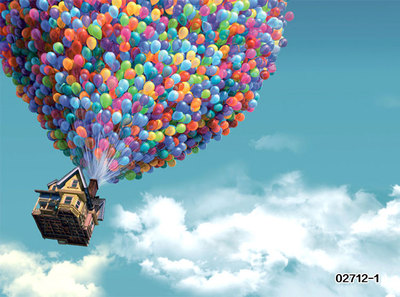 彩色热气球飞屋环游墙纸3d壁纸儿童房卧室幼儿园背景墙无纺布壁画