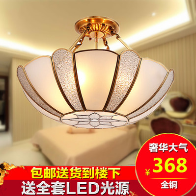 全铜欧式奢华铜灯巴洛克风格半吊纯铜卧室吸顶灯纯铜灯饰不掉色