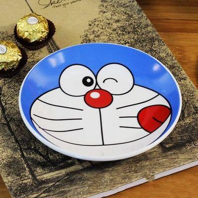 创意多啦a梦叮当猫机器猫可爱陶瓷盘子碟子平盘餐具盛菜套盘外单