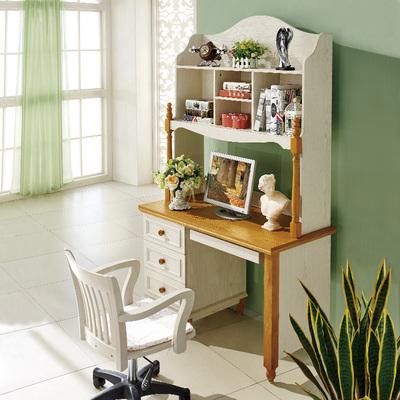 鹏景雅居 实木电脑桌带书架美式乡村书桌田园写字台儿童学习桌a71图片