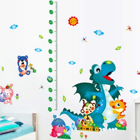 动物恐龙身高贴 儿童房幼儿园宝宝测身高尺可移除卡通墙贴纸