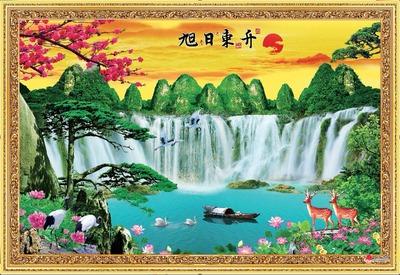 旭日东升瀑布山水风水墙画风景海报生意招财财源滚滚来流水生财图