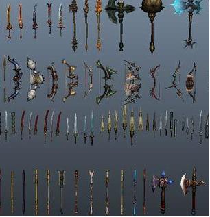 maya模型三维素材刀剑武器游戏模型简模中式古代兵器设计素材