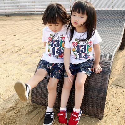 龙凤胎童装宝宝兄妹装姐弟装儿童套装夏装韩版男女童短袖2016新款