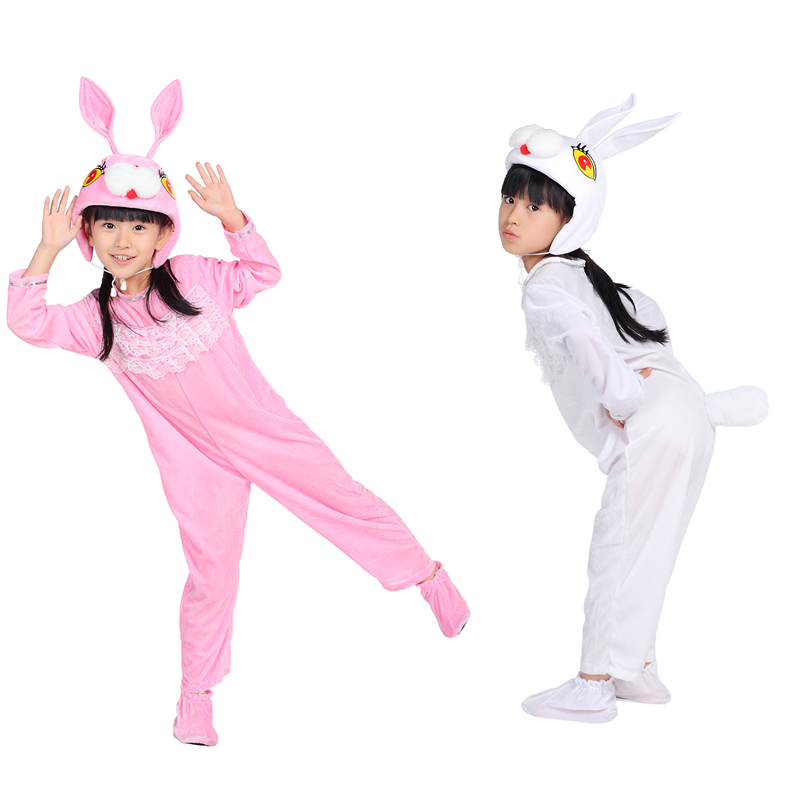 小白兔动物演出服装 幼儿粉兔舞蹈表演服装 儿童小兔子卡通造型服