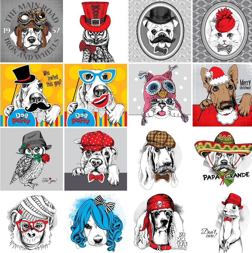 时尚手绘线描圣诞时装可爱小狗动物头像插画 eps矢量设计素材 25p