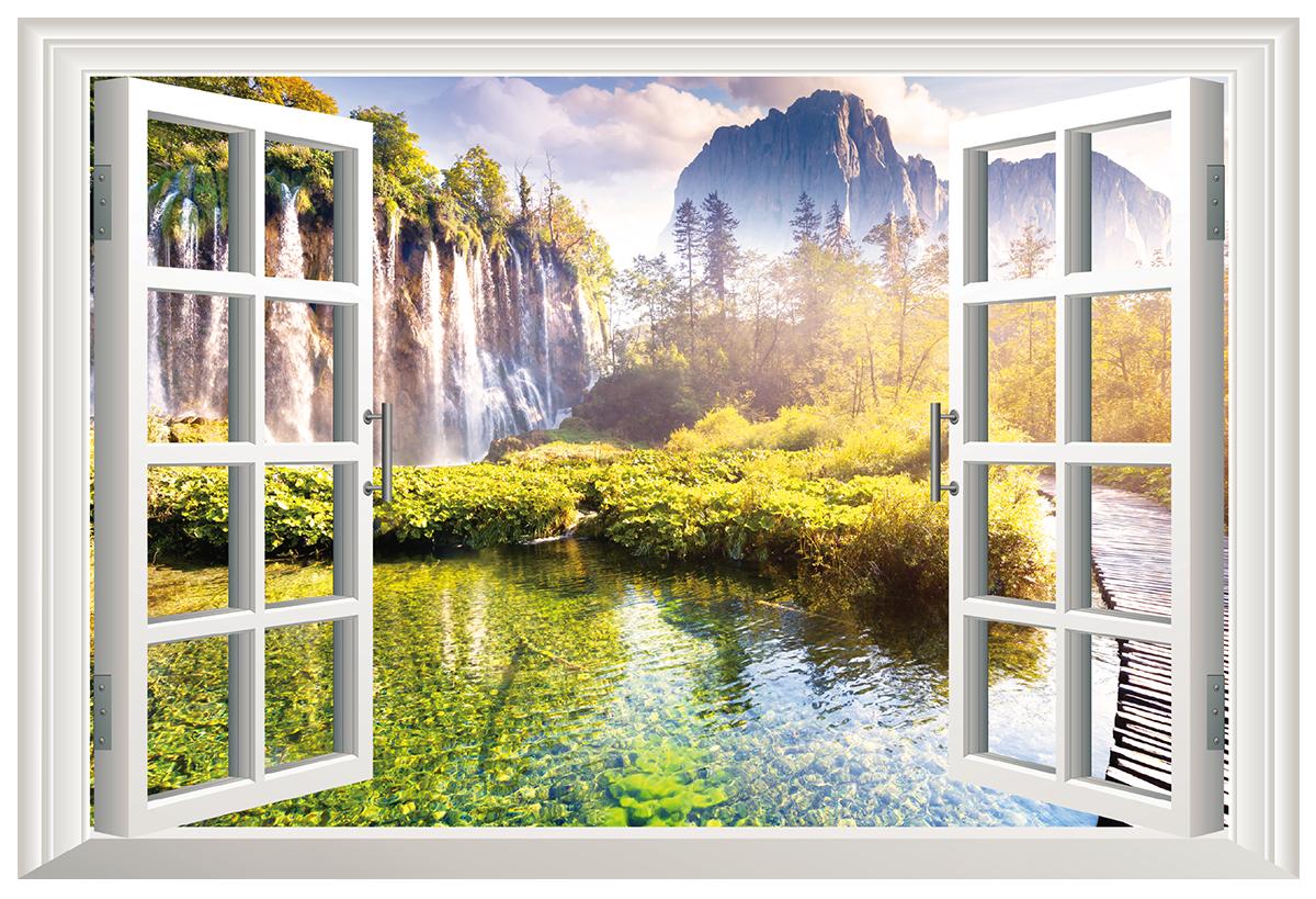 卫生间墙壁装饰贴画假窗户山水风景3d-淘宝 门帘珠帘水晶隔断客厅
