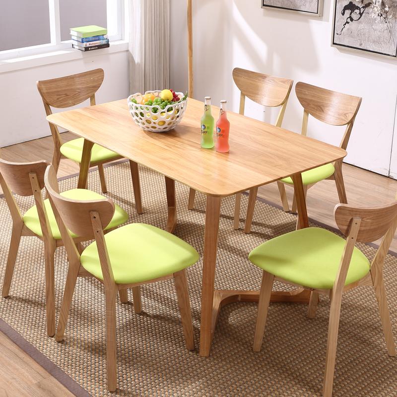 梵希鹿时尚家具北欧创意原木餐桌橡木日式餐椅1米35