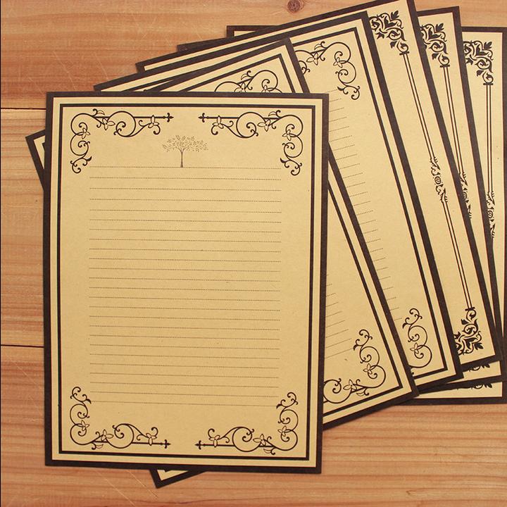 韩国款信纸 欧式复古牛皮纸精美花边信纸