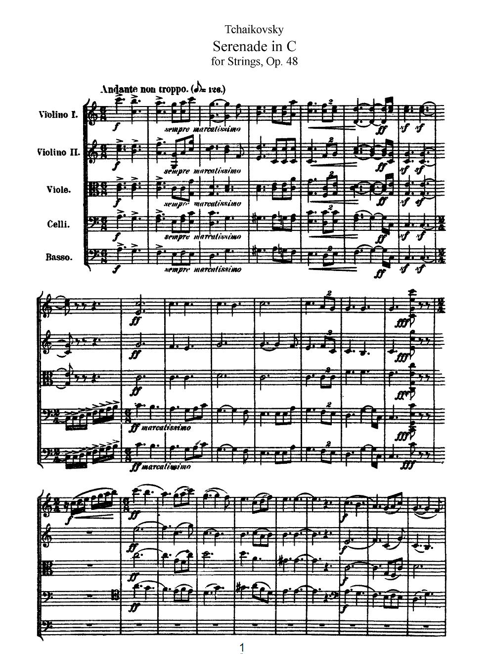 柴可夫斯基弦乐小夜曲op.48总谱五线谱乐谱两套(送mp3
