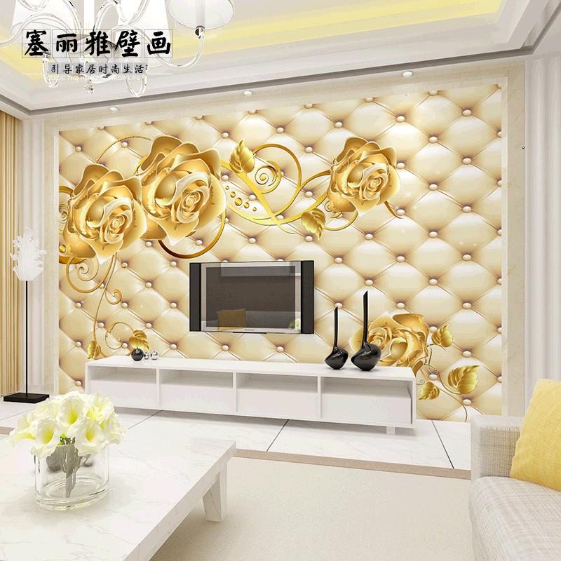 大型电视背景墙布壁纸温馨欧式无纺布3d墙纸自粘壁画图片