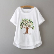XL Womens fat mm summer shirt loose linen T-shirt cotton T-shirt coat maternity women increase
