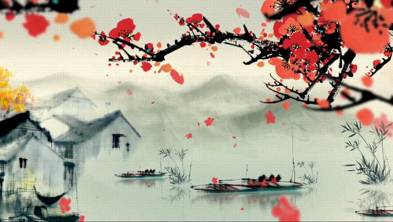 红梅水墨江南梅花led舞台背景广告vj素材古韵水墨桃花视频素材