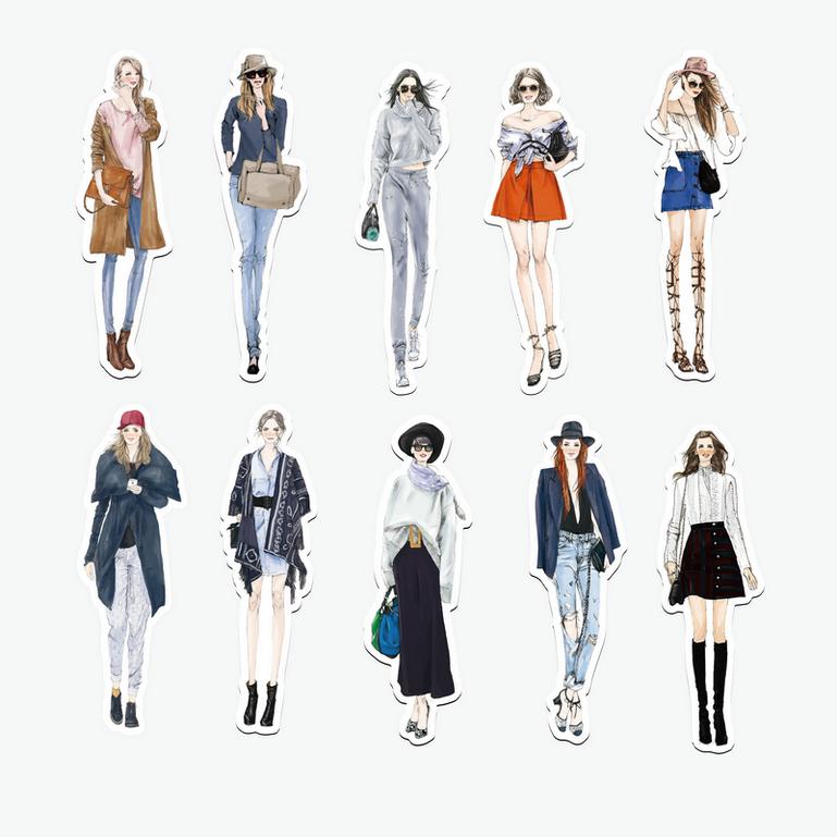 设计图分享 手绘女生服装搭配设计图  手绘服装设计图高清图片_卡通人