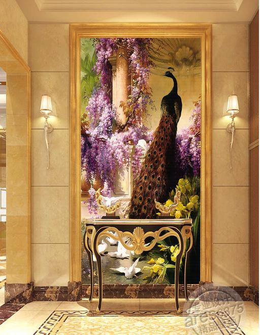 欧式古典走廊玄关油画孔雀凤凰笔触肌理油画高清图片
