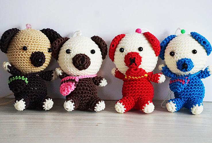 手工编织钩针布娃娃泰迪熊公仔儿童节毛绒玩具熊/抱抱熊生日礼物