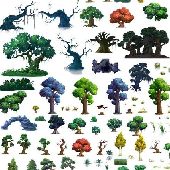游戏美术资源手绘植物 花草树木 psd分层素材 高清2d横版场景修图