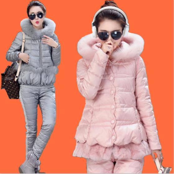 歐洲站2015冬裝加厚品牌羽絨服三件套裝女潮鴨絨時尚