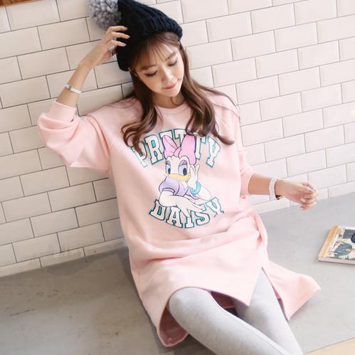 2015韩国孕妇装冬装代购可爱米妮印花孕妇连衣裙韩版