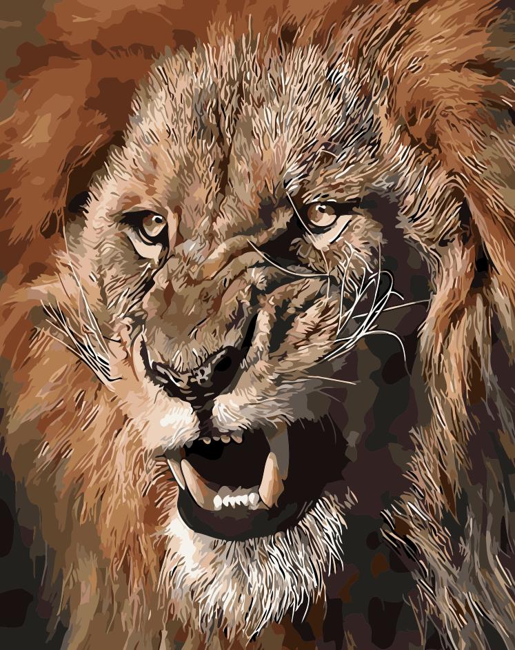 数字油画diy包邮 客厅动物猛兽头像淡彩系列手绘画 狮王40*50