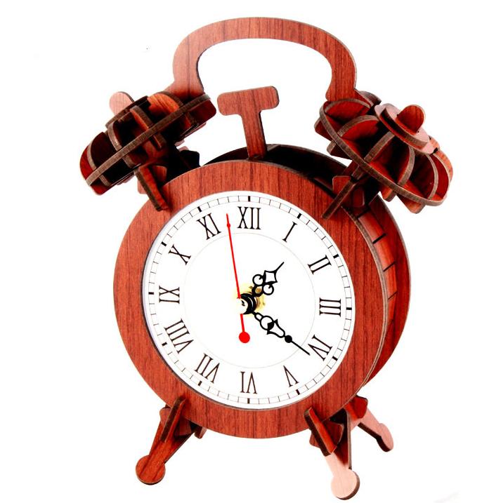 拼图儿童红木益智玩具手工模型木制礼物闹钟时钟表