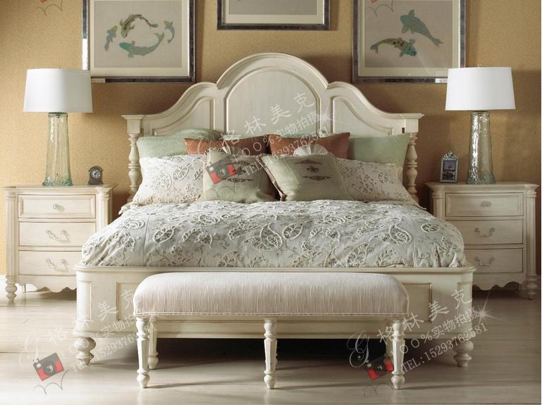 美式平板皇后床精工定做欧式象牙白现代家具实木床