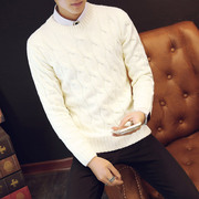 Korean men fall and winter clothes color sweater knit thickened youth sleeve head thickened round neck tide men