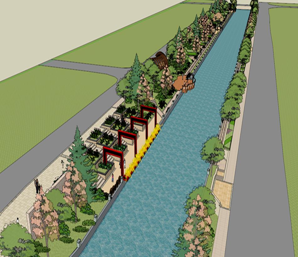 河道平面图 手绘图