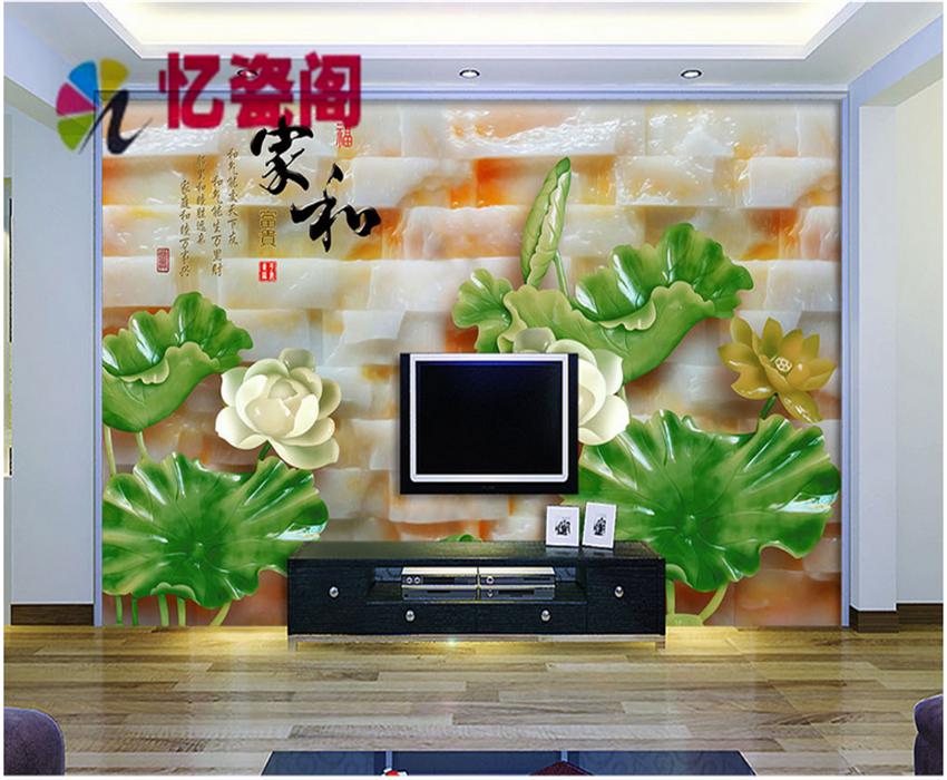 瓷砖背景墙 欧式仿玉石玉雕电视瓷砖雕刻浮雕背景墙