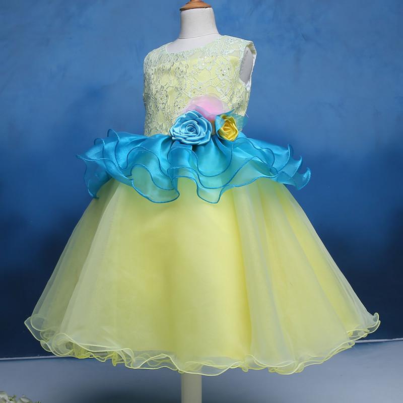 定制女童模特比赛主持人长袖演出服 儿童礼服公主蓬蓬裙拖尾长裙